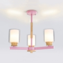 Glass Cylinder Shade Chandelier 3/5/6 Lights Modern Style Hanging Light in Gray/Pink/Yellow for Bedroom