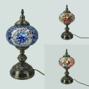 Art Deco Spherical Desk Lamp One Light Stained Glass Table Lamp in Blue/Multi-Color/Red for Living Room
