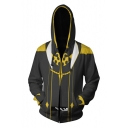 Fashion 3D Comic Cosplay Costume Long Sleeve Zip Up Black and Yellow Hoodie