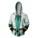 Fancy Blue and White 3D Printed Comic Cosplay Costume Long Sleeve Zip Front Loose Fit Hoodie
