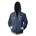New Stylish 3D Cosplay Costume Long Sleeve Zip Up Loose Fit Blue Drawstring Hoodie
