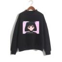 Vaporwave Cute Cartoon Comic Girl Print Mock Neck Long Sleeve Casual Loose Sweatshirt