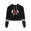 New Fashion Funny Letter DOG MOM Striped Long Sleeve Cropped Casual Hoodie