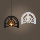 Creative WaterWheel Hanging Light Edison Bulb 1 Light Black/White Pendant Lamp for Restaurant