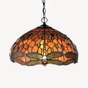 Rustic Style Onion Shade Hanging Lamp with Dragonfly Stained Glass 1 Light Hanging Light for Foyer