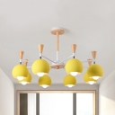 Globe Dining Room Chandelier Metal 8 Lights Contemporary Hanging Lamp in Yellow