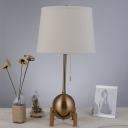 Hotel Tapered Shade Desk Light with Pull Chain Metal 1 Light Antique Style Brass Night Light