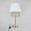 Bedroom Plug In Desk Lamp with Deer Decoration Fabric 1 Light Modern White Study Light