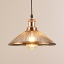 1 Light Etched Cone Pendant Light Antique Style Mesh Screen Hanging Light in Rose Gold for Kitchen