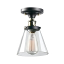 Clear Glass Cone Ceiling Mount Light 1 Light Industrial Ceiling Lamp in Black & Brass/Chrome for Kitchen