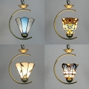 Tiffany Style Brass Pendant Light Cone/Bell Single Light Stained Glass Ceiling Pendant for Restaurant