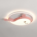 Candy Colored Dolphin Ceiling Fixture Cartoon White Lighting/Third Gear LED Flush Ceiling Light for Kindergarten