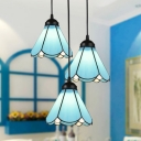 Cafe Conical Shade Pendant Light Glass 3 Lights Tiffany Blue Ceiling Pendant with Linear/Round Canopy