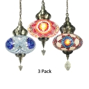 1/3 Pack Glass Spherical Hanging Light 1 Light Turkish Ceiling Pendant in Blue/Multi-Color/Red(not Specified We will be Random Shipments)