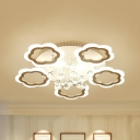 Romantic LED Semi Ceiling Mount Light Petal 3/5/7 Heads Acrylic Ceiling Lamp with Crystal in Warm/White for Room