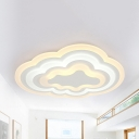 Cloud Study Room Ceiling Mount Light Acrylic Simple Style Warm/White/2 Lighting Modes LED Flush Light