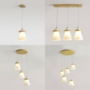 Vase Shaped Bedroom Hanging Lamp Milk Glass 1/3/5 Lights Contemporary Pendant Light in White
