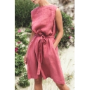 Summer Trendy Simple Plain Round Neck Sleeveless Tied Waist Red Linen A-Line Dress