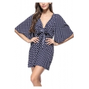 Summer Trendy Vintage Polka Dot Patter Sexy V-Neck Bow-Tied Front Mini Sheath Dress