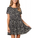 Fashion Polka Dot Printed Round Neck Short Sleeve Ruffled Hem Mini Smock Dress