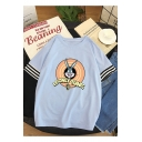 Cute Cartoon Rabbit Print Striped Half Sleeve Relaxed Fit Cotton T-Shirt