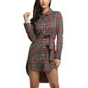 Trendy Check Plaid Pattern Long Sleeve Button Down Tied Waist Mini High Low Shirt Dress