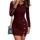 Basic Round Neck Long Sleeve Button Embellished Split Side Plain Mini Bodycon Knit Dress