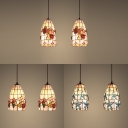 Flower/Fruit Kitchen Pendant Light Shell 2 Lights Tiffany Rustic Ceiling Light in Beige