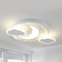 Child Bedroom Moon/Rocket Ceiling Mount Light Acrylic Kids White Ceiling Lamp in Warm/White