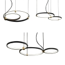 Simple Style Ring Chandelier Metal Black Pendant Light with Warm/White Lighting for Restaurant
