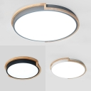 Acrylic Slim Panel Ceiling Mount Light Nordic Stylish Flush Light in Black/Gray/White for Bedroom