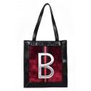 Fashion Stripe Letter B Pattern Shoulder Bag Tote Bag 29*32*9 CM