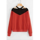Fashion Color Block Hollow Out V-Neck Lon