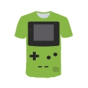 Funny 3D Game Console Printed Summer Round Neck Short Sleeve Green T-Shirt