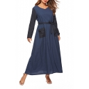 Womens Plus Size Trendy Navy Blue V-Neck Long Sleeve Tied Waist Maxi Dress with Pocket