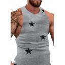 Guys Trendy Star Printed Round Neck Sleeveless Sport Gym Fitness Tank Top
