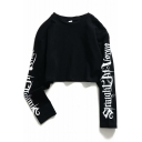 Girls Cool Simple Letter Print Long Sleeve Round Neck Casual Cropped Sweatshirt