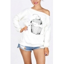 Womens Simple Cartoon Printed Oblique Shoulder Long Sleeve White Casual Sweatshirt