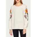 Womens Chic Floral Embroidery Long Sleeve Round Neck Casual Loose Beige Sweatshirt