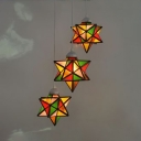 Kindergarten Star Shade Hanging Lamp Stained Glass 3 Lights Tiffany Stylish Pendant Light