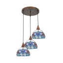 3 Lights Floral Pendant Light Tiffany Vintage Stained Glass Hanging Light in Blue for Kitchen