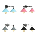 Macaron Loft Cone Wall Sconce 2 Lights Metal Sconce Light in Candy Color for Bedroom Bathroom