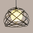 Vintage Stylish Black Pendant Light Globe 1 Light Linen Hanging Lamp with Wire Frame for Hallway