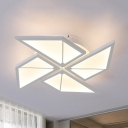 Simple Style Semi Flush Mount Light Toy Windmill 4/5 Heads Metal LED Ceiling Lamp in Neutral/White/Yellow