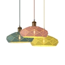 Modern Lattice Hat-Shaped Pendant Light 1 Light Aluminum Ceiling Pendant in Green/Pink/Yellow for Hallway