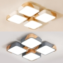 Acrylic Square LED Flush Mount Light 4 Heads Modern Style Warm/White Lighting Ceiling Lamp in Gray/White for Hotel