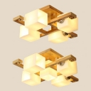 Square Living Room LED Ceiling Mount Light Frosted Glass Wood Japanese Style Flush Light in Beige