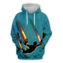 Mens Cool 3D Game Fire Figure Printed Long Sleeve Blue Sport Loose Hoodie