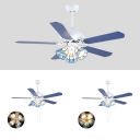 3/4/5 Lights Dome Ceiling Fan with 5 Blade Nautical Glass LED Ceiling Lamp in Blue for Living Room