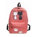 Cute Cartoon Polka Dot Cat Printed Waterproof Nylon School Bag Backpack 28*12*39 CM